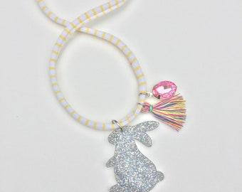 Rainbow Tassel Glitter Bunny Necklace