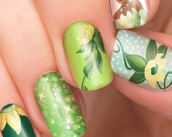 Tiana Disney nail transfers - illustrated nail art decals - Princess and the Frog - Disney nail stickers