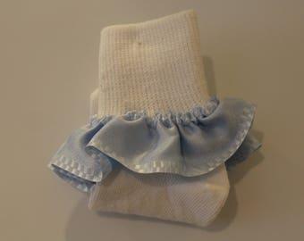 Girls' Ruffled Sock-Baby Blue w Checker