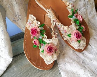 Greek Handmade  Leather Sandals,Romantic style ,polymer clay flowers,polymer clay leaves,moonstone crystals, lace,agate frost bead