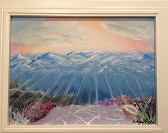Ocean Mountains, Acrylic, Original, Under Water, Sunset, Sun Rays, Ocean Floor, Deep Sea, White Frame