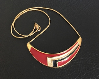Monet signed red, black and cream enamel and gold plated necklace