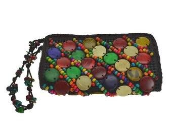 Unisex hippie woman money clip wallet natural wood handmade hand made
