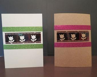 Unique,unusual, handmade all occasion cards  positive, film, flower (#5)