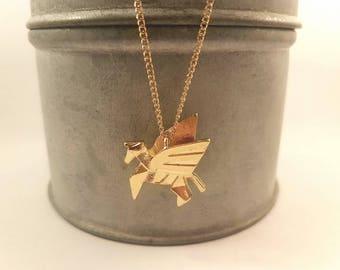 Origami Unicorn, unicorn necklace, origami pegasus necklace, geometric jewellery, minimalist jewellery, origami animal, flying horse jewelry