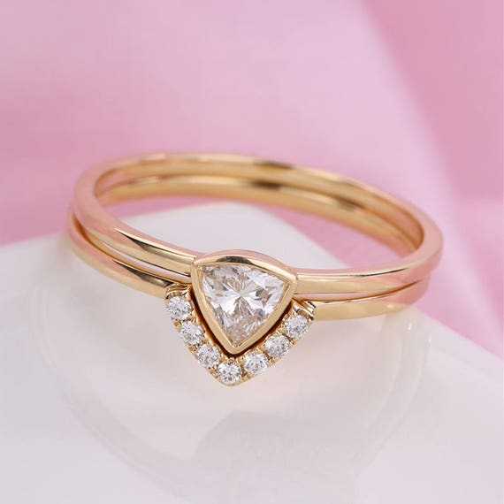 Unique Diamond Engagement Ring Rose Gold Triangle Curved