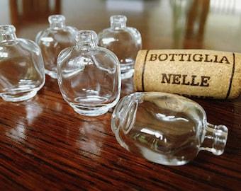 5 Mini Perfume Glass Bottles with Cork