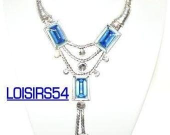 Blue loop necklace matching earrings