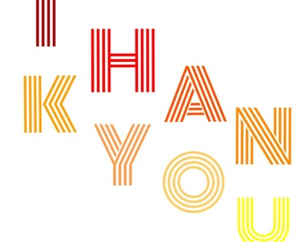"""Individual 140mm Square Blank Thank You Card  """"THAN KYOU"""" Add own message By Crannycards"""