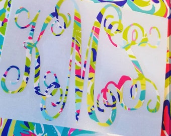 Fancy Monogram,  Interlocking Vine Monogram, Lilly Pulitzer Monogram, Lilly Pulitzer, Decal, Monogram Decal, Car Decal, Yeti