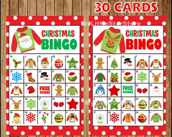 Christmas Bingo Game 30 Cards, Printable Christmas Bingo cards, Game for Christmas Party Instant download