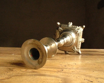 Nickle-plated French church altar candle stick, 1890s