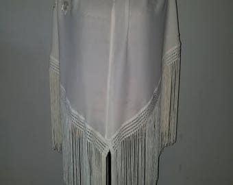 Cream floral silk long fringed shawl or shoulder wrap