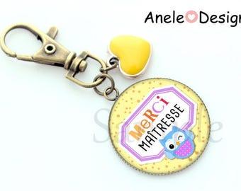 Keychain gift - yellow OWL blue snap - teacher thank you teacher - yellow heart