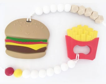 Hamburger Teether//Fry Teether//Baby//Toy//Shower//Gift//Natural//Teething//Food//Play