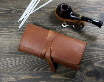 Leather pipe roll  leather pipe pouch  Personalized Pipe pouch  Tobacco Pipe Roll  Leather Pipe Bag  Pipe Case  Leather smoking  pipe