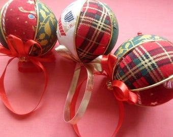 Handmade fabric christmas baubles