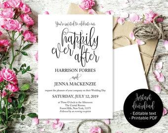 Wedding Invitations, Wedding Invitation Template, Wedding Printable, Editable Wedding Invite, Invitations Wedding, Happily Ever After INV-11