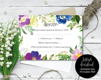 Printable Wedding Rsvp, Editable Wedding Rsvp Template, Editable Wedding Rsvp, DIY Rsvp, PDF Rsvp, Watercolor Flowers Border 5 RSVP-5