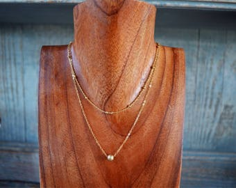 Gold Double Stranded Necklace and Choker
