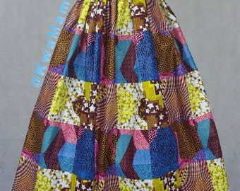 Patched African wax fabric, Ankara maxi skirt, Sale promotion skirt, Maxi summer skirt, Robe Africaine Size US4