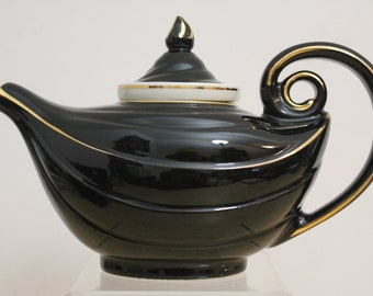 Hall Aladdin 6 Cup Teapot with Infuser- Black With White and Gold Accents