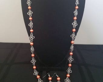 Stainless Steel and Beads Chainmaille Necklace w/Matching Earrings