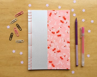A5 Japanese hand bound chiyogami paper notebook, notepad, sketchbook, journal
