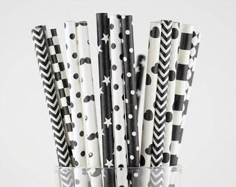 Black/White Paper Straw Mix - Party Decor Supply - Cake Pop Sticks - Party Favor