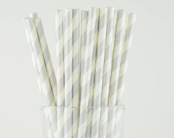Silver Striped Paper Straws - Mason Jar Straws - Party Decor Supply - Cake Pop Sticks - Party Favor