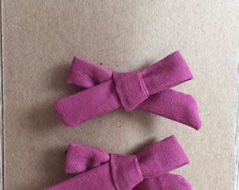 Schoolgirl bows, pigtail clips, little girls hair accessory, bow, clip, purple