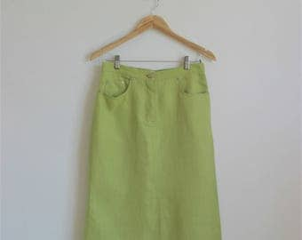 MAX MARA Vintage green refreshing pure linen knee length midi skirt Size 8 M summer timeless MaxMara resort cruise vacation skirt
