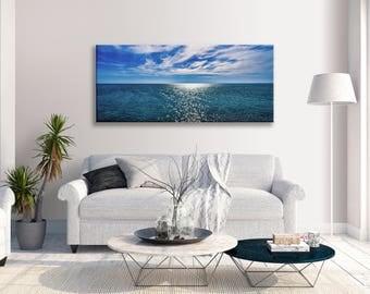 Seascape  Blue Ocean Sky  Panorama Canvas Wall Art Print  Picture Home Decor Art
