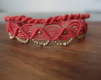 Macrame Anklet Red