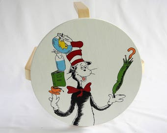Hand painted Cat in the Hat Stool. Perfect children's seat, bench seat, bedroom seat, bathroom seat