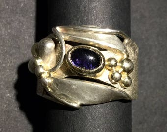 Unique Vintage Chunky Organic Statement Ring, Sterling Silver, Gilding and Cabochon Amethyst, Unisex, 1970s