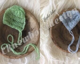 Mohair Hat bonnet hood newborn shoot props