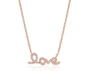 14k Rose Gold Plated Ladies Sterling Silver L O V E Pendant