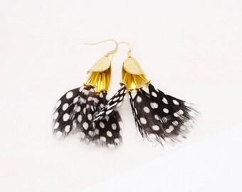 Dangling Feather Earrings - SPOTS