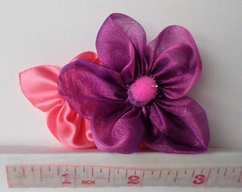 Purple and Pink Fabric Flower Hair Clip, Organza and Satin Ribbon