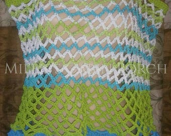 Traditional Fishnet Multicolor Lime Green & Sky Blue Hippie Summer Wide Crochet Top 2x 3x