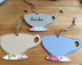 Hand made wooden teacup place names