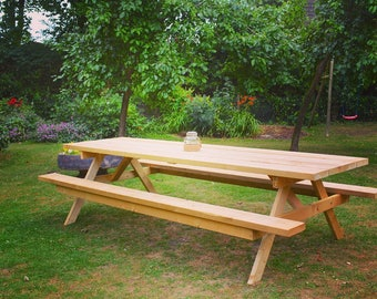 Garden picnic table and bench up to 3 meters long