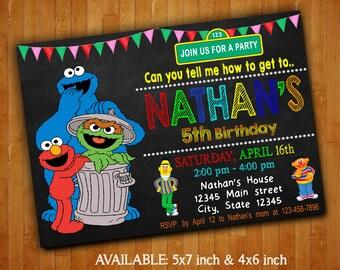 Sesame Street Invitations / Sesame Street Birthday Party Invitation / Sesame Street Digital File Printable / Sesame Street