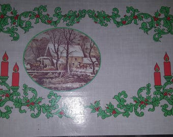 Set of 4 Currier and Ives - American Winter Scenes - Reversible Placemats