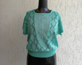 Knitted top with beads from the 80's