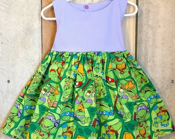 Girls dress, teenage mutant ninja turtle dress, ninja turtle costume, TMNT dress, toddler ninja turtle dress, TMNT Birthday party,