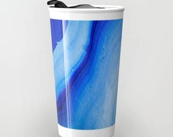 Original Art Print Coffee Tea Travel Mug- Ocean Waves. Custom Order, Pre Order.