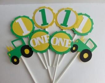 Tractor Cupcake Toppers, John Deere Cupcake Toppers, Age Cupcake toppers, First Birthday Cupcake Toppers
