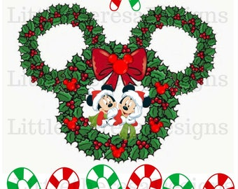 Mickey and Minnie Christmas Family Wreath DIY  Image  For Iron On Transfer